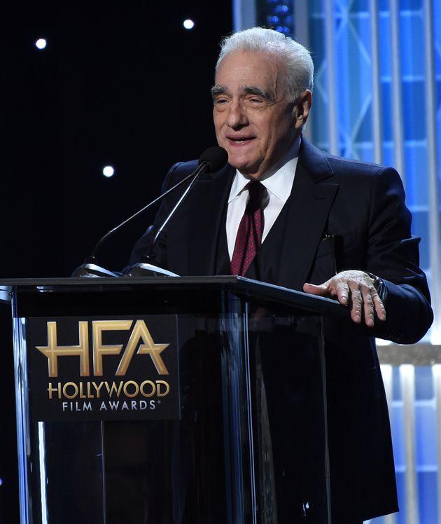 Martin Scorsese presents Hollywood producer award at the 23rd annual Hollywood Film Awards on Sunday,...
