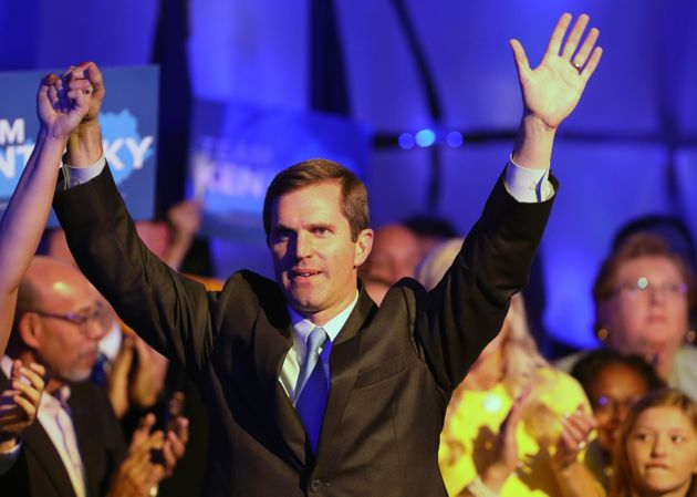 Apparent Kentucky Gov.-elect Andy Beshear celebrates with supporters in Louisville, Kentucky, on Tuesday...