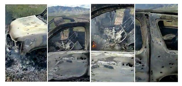 Combo de fotografías que muestra uno de los vehículos atacados por un grupo armado y donde viajaban familias...
