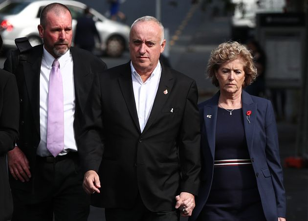 Grace Millane's parents David (centre) and Gillian (right) arrive with Detective Inspector Scott Beard...