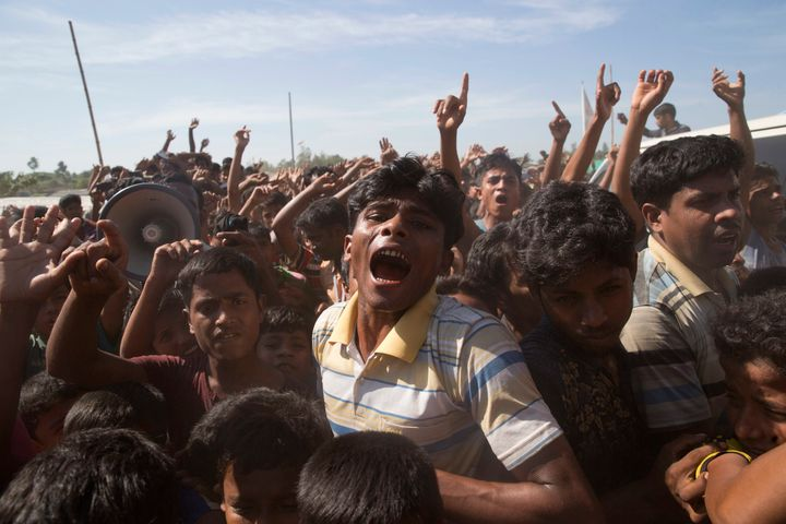Rohingya refugees shout slogans during a protest against the repatriation process at Unchiprang refugee camp near Cox's Bazar, in Bangladesh on 15 November, 2018.