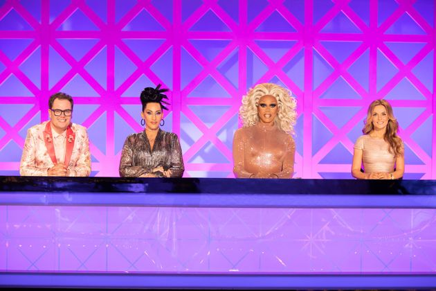 RuPaul with judges Alan Carr and Michelle Visage, alongside controversial guest star Geri