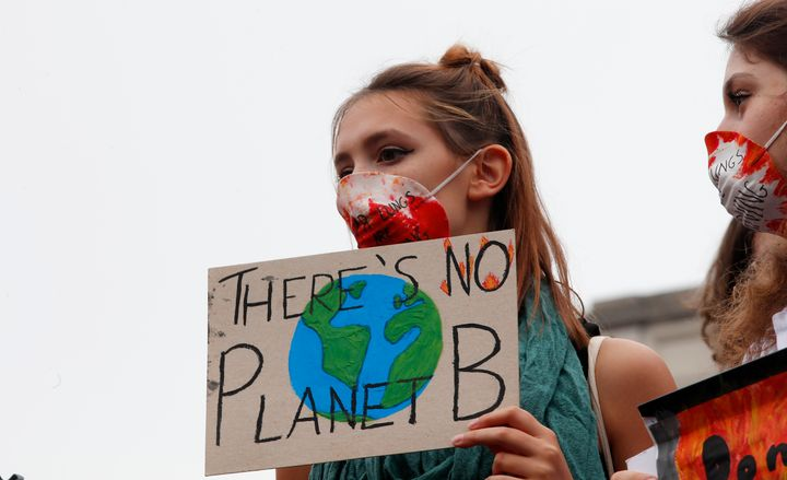 Students demonstrate during a worldwide protest demanding action on climate change in Milan in September.
