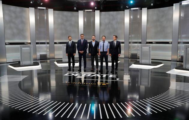 Los candidatos a la presidencia de PSOE, PP, Ciudadanos, Podemos y Vox en el debate