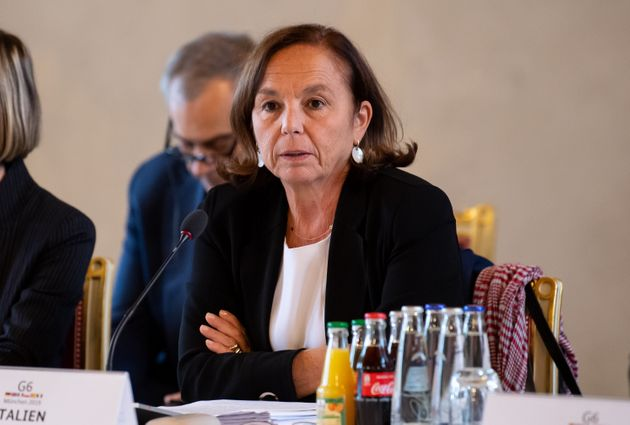 28 October 2019, Bavaria, Munich: Luciana Lamorgese, Italian Minister of the Interior, attends the G6...