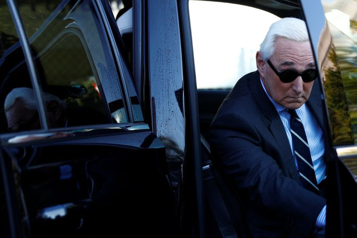 Roger Stone, former campaign adviser to President Donald Trump, arrives for his criminal trial on charges of lying to Congres