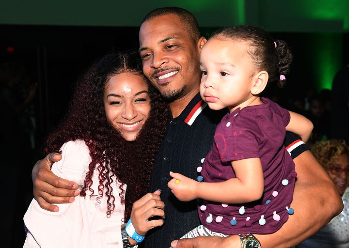 T.I. with his daughters Deyjah Harris (left) and Heiress Diana Harris (right) on July 19, 2018, in Atlanta, Georgia.