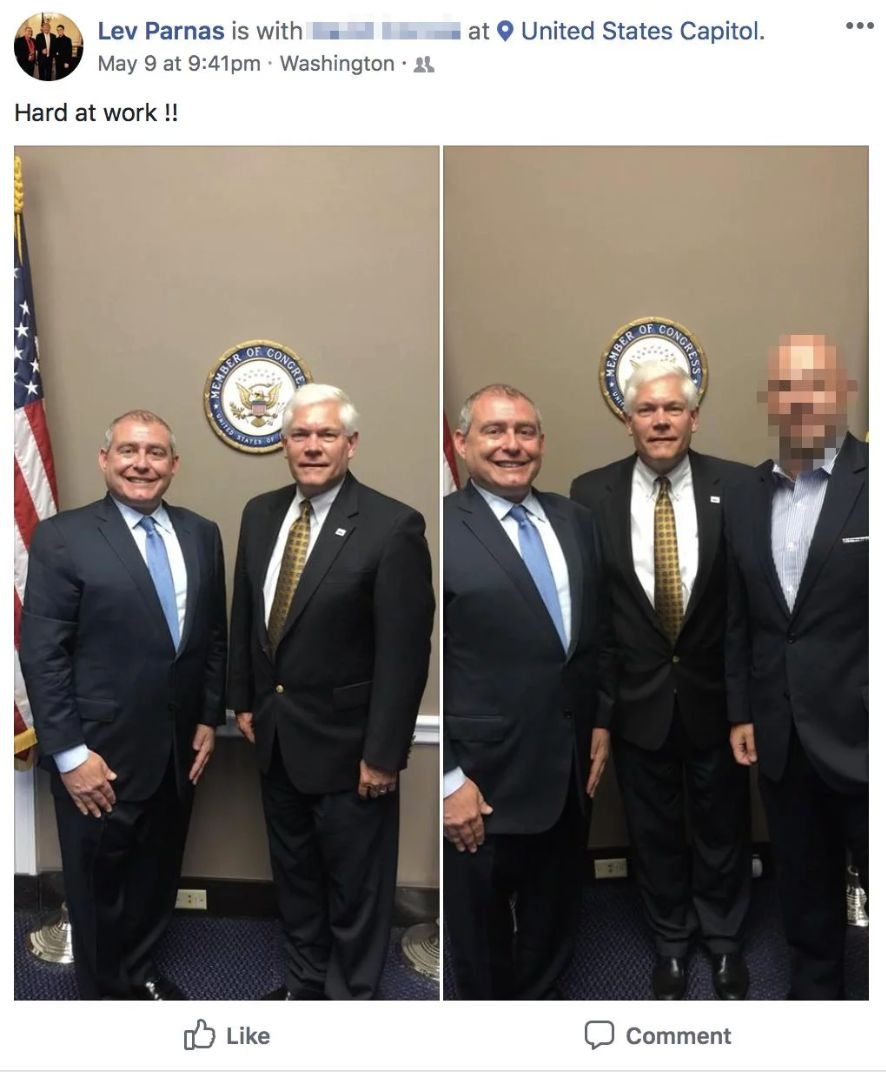 Parnas shared photos with then-Rep. Pete Sessions on his Facebook account.