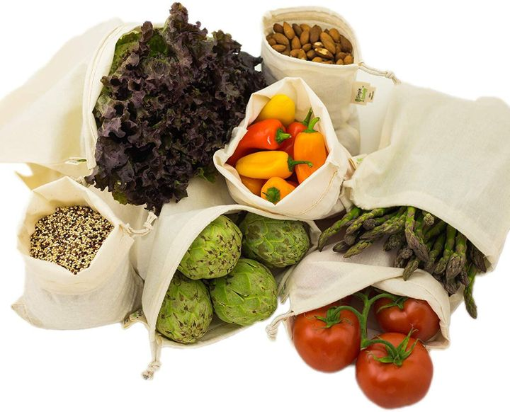 Avoid single-use plastic with these reusable cotton produce bags.