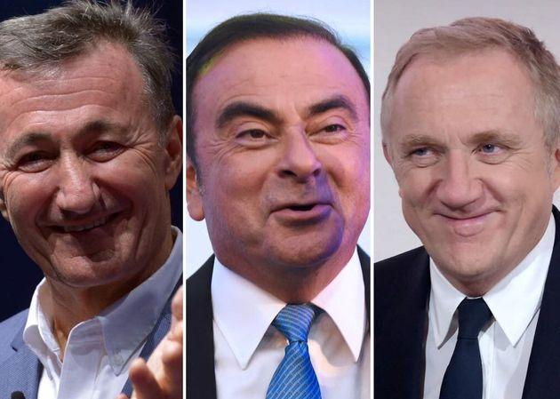 La patrons du CAC 40 (ici le trio de tête Charlès, Ghosn, et Pinault) gagnent en moyenne...