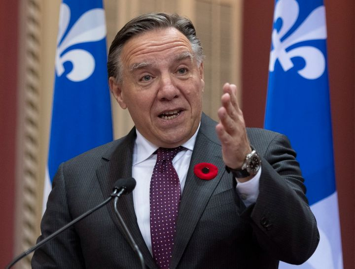 Quebec Premier Francois Legault speaks after signing a fiscal pact with municipalities on Oct. 30, 2019 at the legislature in Quebec City.