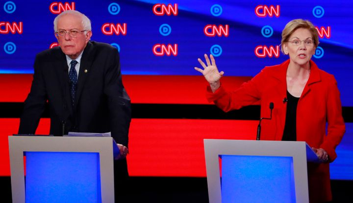 Sens. Bernie Sanders (I-Vt.) and Elizabeth Warren (D-Mass.) during the second Democratic presidential debate in July 2019.