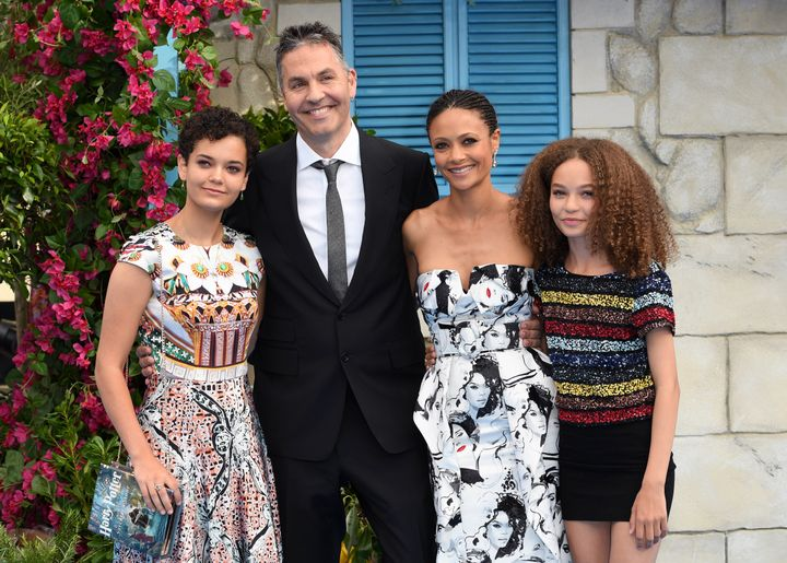 """Thandie Newton and Ol Parker and their daughters at the world premiere of """"Mamma Mia! Here We Go Again"""" on July 16, 2018, in London."""
