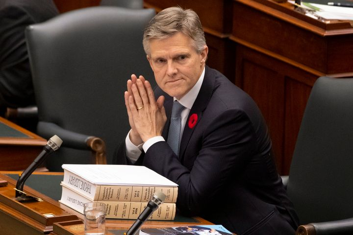 Ontario Finance Minister Rod Phillips prepares to deliver the fall economic statement at the Ontario legislature in Toronto on Nov. 6, 2019.