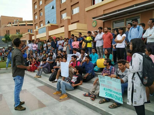 Students of Azim Premji University protest in solidarity with TISS,