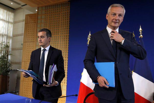 Gérald Darmanin et Bruno Le Maire lors de la présentation du budget 2020 à Bercy...