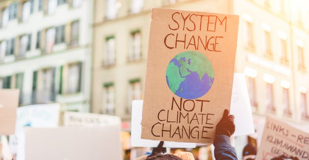 Group of demonstrators on road, young people fight for climate change - Global warming and enviroment...