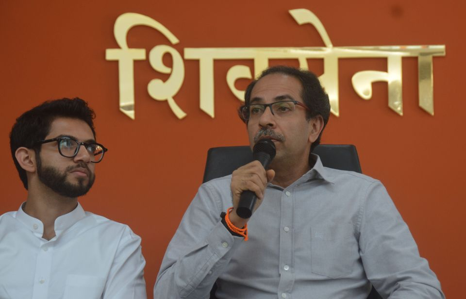 Shiv Sena president Uddhav Thackeray along with other leaders addressing to media at Sena Bhavan, on...