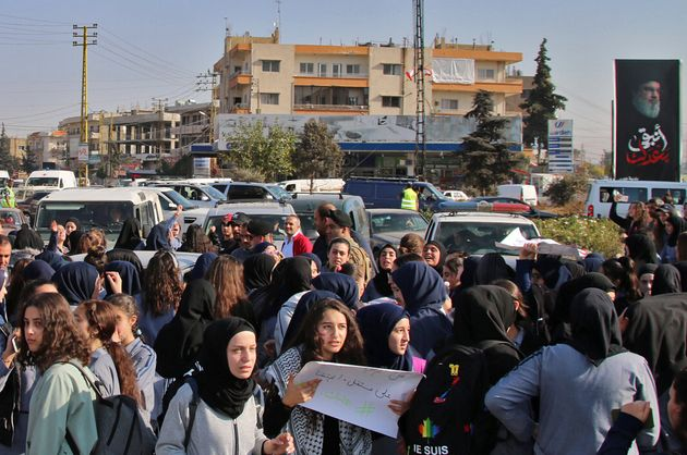 Lebanese students take part in an anti-government demonstration in the eastern Bekaa Valley city of Baalbeck...