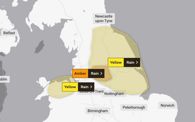 A Met Office weather map highlighting areas affected by Thursday's weather