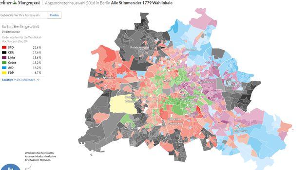 La carte du vote à Berlin aux élections régionales de