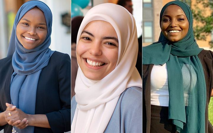 24-year-old Abrar Omeish (center), also from Virginia, shares the accolade with Hashmi as one of the first Muslim women elect