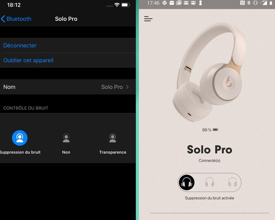 Sur iOS (gauche) comme sur Android (droite), le Beats Solo Pro d'Apple ne propose presque aucun