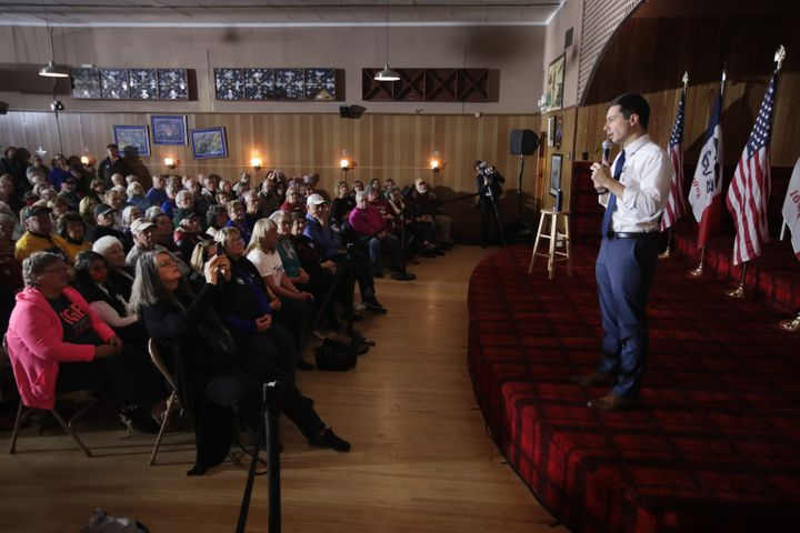 Buttigieg speaks to an estimated 334 people at a VFW hall in Algona, Iowa, on Monday. The town, home to 5,560 people, is in a