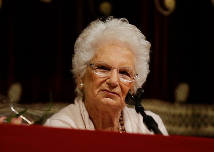 Holocaust survivor Liliana Segre speaks with young students on the occasion of a Holocaust remembrance, at the Arcimboldi the
