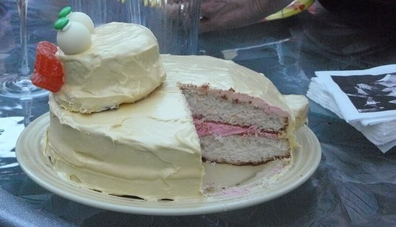 This is the cake that Jenna Karvunidis made for the gender reveal party she threw herself in