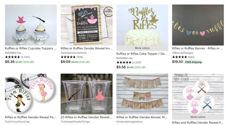 "A sampling of the ""Ruffles or Rifles?"" merchandise you can find on Etsy."