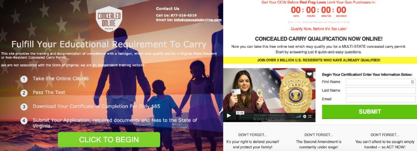 Left: The main version of Concealed Online's website. Right: The Facebook version of Concealed Online's website.