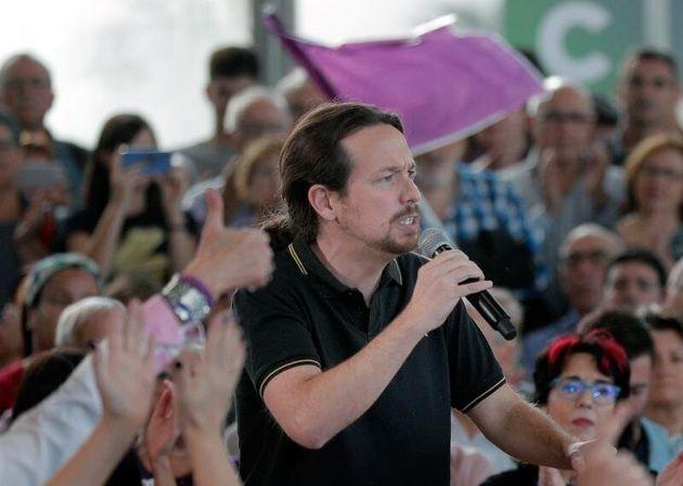 El candidato de Unidas Podemos a la presidencia del Gobierno, Pablo Iglesias, interviene en el mitin...