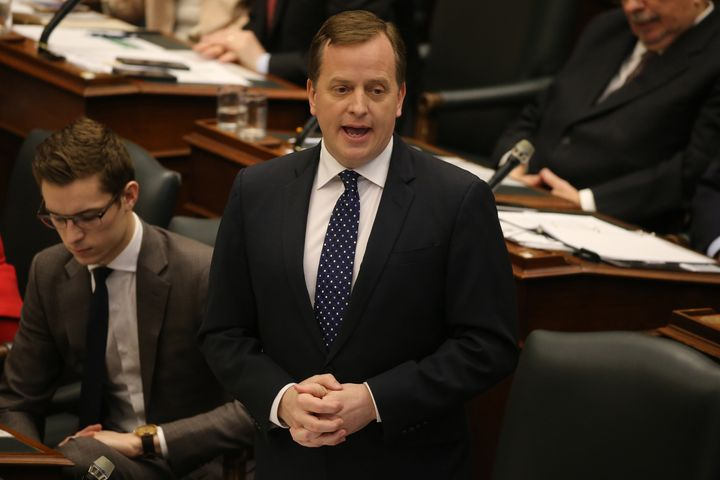 Environment Minister Jeff Yurek answers a question at Queen's Park, Feb. 19, 2019.