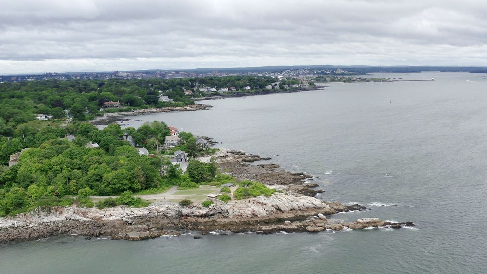 Aerial view of Cundys Harbor, Maine.
