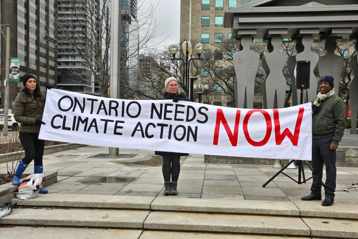 Protesters at a rally to stop climate change outside a Toronto courthouse, April 15, 2019. The Ontario government was challenging the federal government's carbon tax.