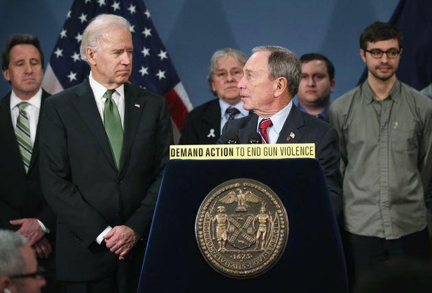 NEW YORK, NY - MARCH 21: New York City Mayor Michael Bloomberg speaks to U.S. Vice President Joe Biden...