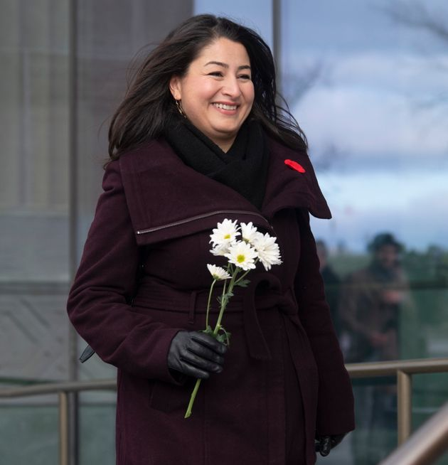 Liberal MP Maryam Monsef walks to a Liberal caucus meeting in Ottawa on Nov. 7,