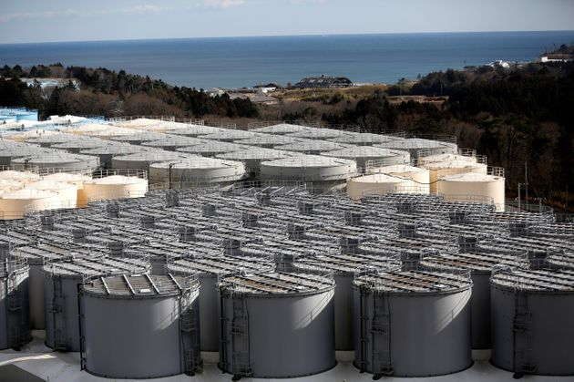 Storage tanks for radioactive water are seen at Tokyo Electric Power Co's (TEPCO) tsunami-crippled Fukushima...