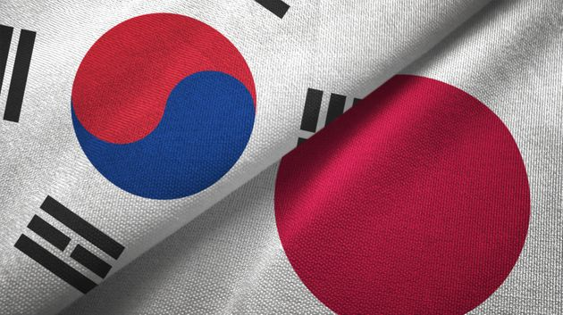 Japan and South Korea flag together realtions textile cloth fabric