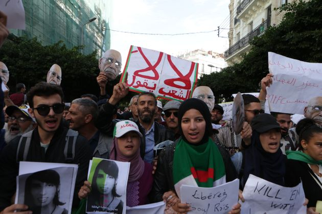 ALGIERS, ALGERIA - NOVEMBER 05: Algerians take part in an anti-government demonstration against Bouteflika...
