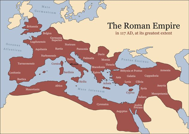 The Roman Empire at its greatest extent in 117 AD at the time of Trajan, plus principal provinces. Vector