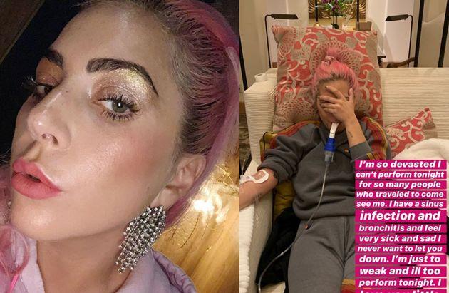 Lady Gaga con flebo e aerosol: