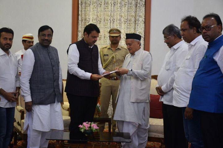 Devendra Fadnavis submits his resignation as Maharashtra chief minister.