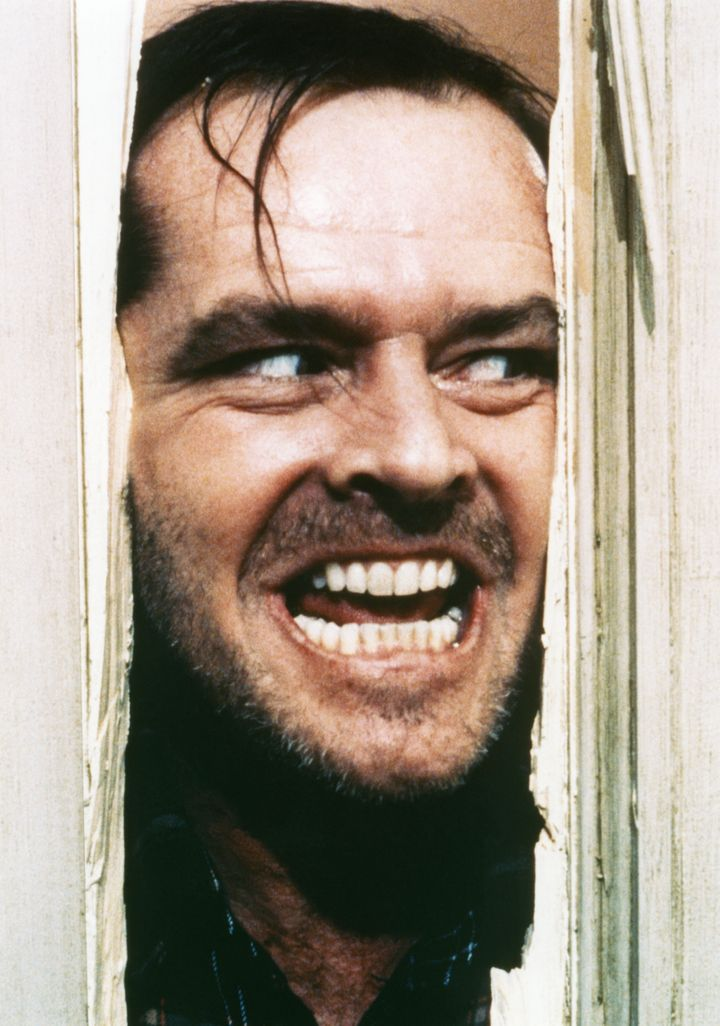 "Jack Nicholson on the set of ""The Shining."""