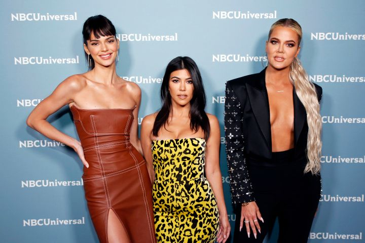 Kendall Jenner, Kourtney Kardashian and Khloe Kardashian at the NBC Universal Upfronts on May 13, 2019.