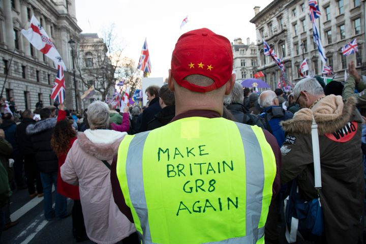 "A scene from a ""Brexit Betrayal March"" organized by the UK Independence Party in December 2018."