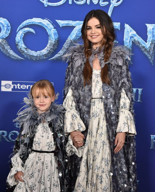 Gracie Teefey and Selena Gomez attend the premiere of Disney's