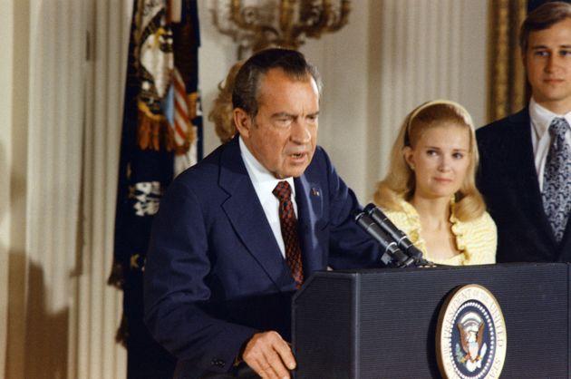 Richard Nixon annonçant sa démission à la Maison Blanche le 9 août