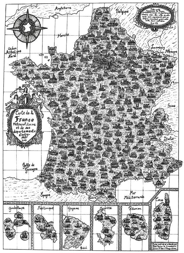 Pablo a dessiné cette carte de France et ses 101 départements en une semaine à l'aide d'une plume et...